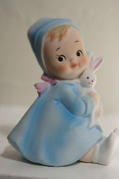 ADORABLE 1950's LEFTON BABY With TOY BUNNY.