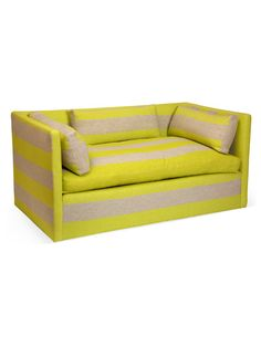 One-of-a-Kind Stripe Sofa by Tiger Lily - love the acid yellow / natural combo!!!