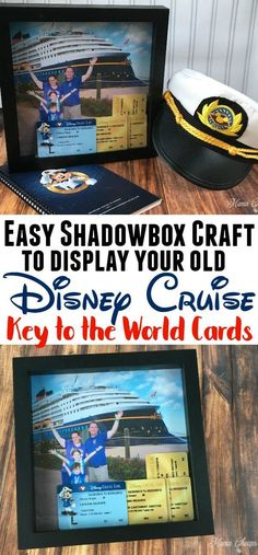 Disney Cruise Shadowbox Craft Idea for Displaying Old Key to the World Cards