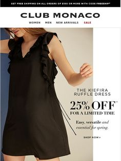 25% off one of our favorite spring dresses - Club Monaco