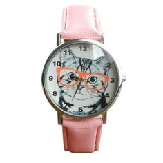 Cat face with glasses quartz watch with pink strap for the cat lover