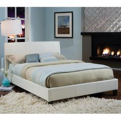 Standard Furniture New York Upholstered Platform Bed in White - 93955-QN from BEYOND Stores