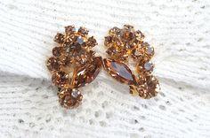 Vintage Topaz Rhinestone Earrings Flowers by CamanoIslandVintage, $35.00