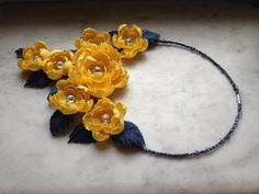 Denim flowers necklace, yellow flowers necklace, cotton flowers necklace,  denim Floral Accessory, fabric handmade yellow flowers bib