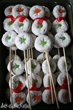 snowman donut snacks