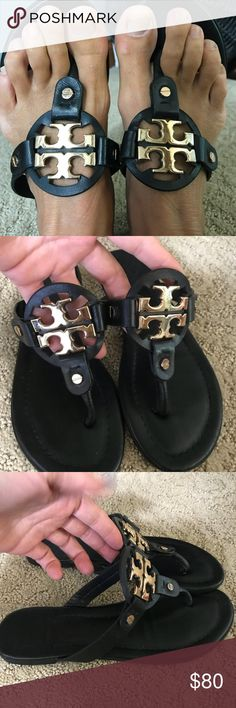 607521ebc4afe2 Tory Burch flip flop Miller sandal Still a lot of life in them! Great good  and black sandal Tory Burch Tory Burch Shoes Sandals