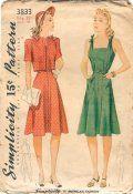 Simplicity 3833 Misses 1940s Sun Dress Pattern Bust 33 Bolero Vintage Sewing Pattern