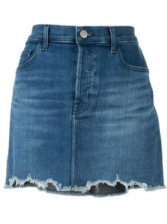 Blue cotton blend Bonny skirt from J Brand featuring a button and zip fly, a waistband with belt loops, a five pocket design and a fringed hem. Denim Mini Skirt, Mini Skirts, Shapes And Curves, Fashion Branding, J Brand, Women Wear, Cotton, Fashion Design, Blue
