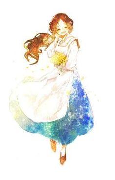 ♥ Anime + My Art ♥ - Anime galaxy + kimono Anime Art Girl, Manga Girl, Anime Girls, Fanart, Anime Chibi, Kawaii Anime, Aho Girl, Character Art, Character Design