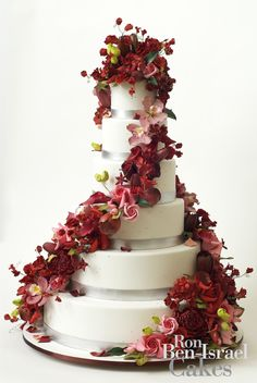 wedding cake inspiration Ron Ben Isreal wedding cakes red pink cascading florals