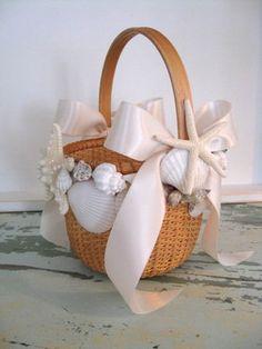 floral arrangements with seashells   Beach Flower girl seashell shell basket, Nantuket Nautical Tropical ...