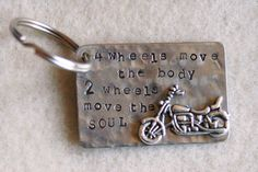 Hand Stamped Motorcycle Keyring  4 Wheels Move The by IJDbyNoelle, $18.50