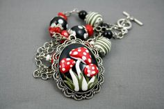 Toadstool Polymer Clay Necklace - Mushroom Necklace -  Fantasy Necklace - Fairy Necklace - Red, Black, White Necklace