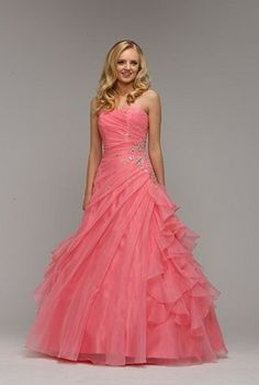 Beautiful strapless organza ball gown in coral, by Berketex of the UK.