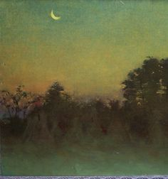 Crescent Moon Paintings | Fannie Burr haystacks in field under crescent moon oil painting c1885