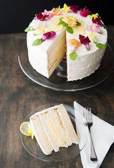 lemon heaven cake | lemon chiffon cake + limoncello soaking syrup + lemon swiss meringue buttercream frosting + lemon curd