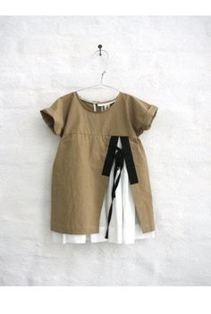 ANA dress with white washed underskirt and contrast slit binding cotton elastane fabric, washed and light paper touch color: amber fabric: Toddler Dress, Toddler Outfits, Baby Dress, Kids Outfits, Little Girl Fashion, Toddler Fashion, Kids Fashion, Stylish Kids, Cute Baby Clothes