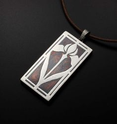Iris Keum Boo rectangle pendant by KAZism on Etsy; didn't know you could do Keum Boo with silver on copper!