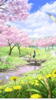 58 ideas for sakura tree drawing anime girls Frühling Wallpaper, Anime Scenery Wallpaper, Spring Wallpaper, Beautiful Nature Wallpaper, Anime Art Girl, Anime Girls, Landscape Paintings, Fantasy Art, Photos