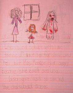 This is an actual childrens drawing : Imaginary friend Lisa page 3 ... It reads Lisa is at school with me today. I brought her for show and tell but Ms. Monroe got angry because she can't see Lisa. Lisa got sad so she hid the chalkboard eraser