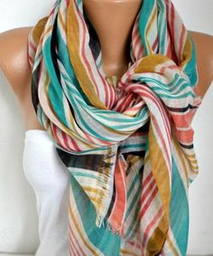 Spring Line Cotton Scarf Shawl Summer Cowl Oversized by fatwoman