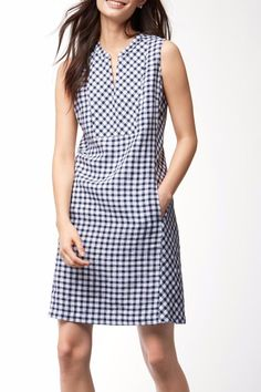 """Update your daytime look in our airy linen dress patterned in multi-directional gingham and featuring a chic split neckline.   100% linen. Machine wash cold on gentle cycle tumble dry low. Can also be dry cleaned. 37"""" shoulder to hem (based on size S). Front pockets. TW615981 Color: Ocean Deep Gingham Linen Dress by Tommy Bahama. Clothing - Dresses - Casual New Jersey"""