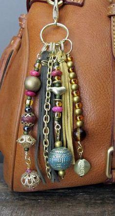 Purse Charm Tassel Zipper Pull Key Chain  by ThePaintedCabeza
