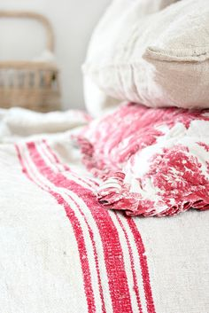 rustic french linen bedding.  toile, stripe