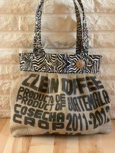 Recycled Coffee Burlap Bag por DakotaMaid en Etsy, $65.00