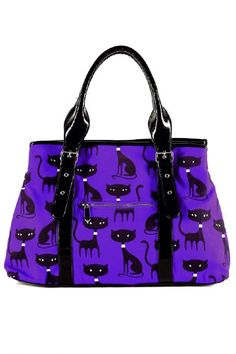 Black Cat's Meow Purple Handbag by Folter | Gothic Bags