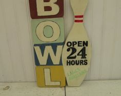 Retro look Bowling sign, Hand painted, Vintage decor sign, Perfect for game room, den or man cave