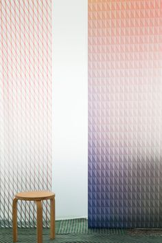 Bouroullec brothers' glass panel collection is called Oblique and Chevron Skyline Design, Hospital Design, Visual Texture, Glass Texture, Glass Design, Wall Design, Commercial Design, Glass Collection, Glass Panels