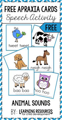 Apraxia Speech Cards Free Printable for Animal Sounds! Perfect for practicing early sounds in speech therapy in preschool, pre-k, and kindergarten. Free activity by Learning Resources for Child Development. #speech #speechtherapy #apraxia #childhoodapraxia #CAS #apraxiacards #speechcards #freeprintable #freeactivity #preschoolspeech #kindergartenspeech #learningresources