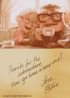 """Even LOOKING at this one photo from one scene in Disney's """"Up"""" makes me cry."""