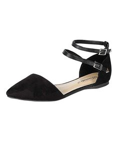 Look at this #zulilyfind! Black Diane Ankle-Strap Flat by Breckelle's #zulilyfinds
