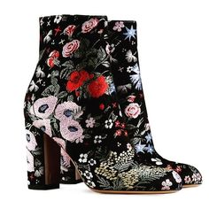 gucci black ankle boots floral embroidered