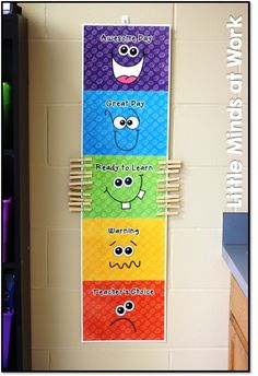 Love the behavior chart Classroom Tour 2014 Classroom Behavior Chart, Classroom Behavior Management, Classroom Rules, Classroom Setting, Classroom Setup, Classroom Displays, Behavior Chart Preschool, Behavior Chart For Preschoolers, Classroom Organisation Primary