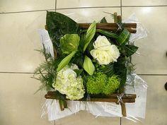 Bouquet - Carré - Blanc et vert