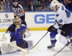 St. Louis Blues goaltender Jaroslav Halak looks behind him to make sure the shot on goal by San Jose Sharks rookie forward Tomas Hertl didn't land in the back of the net (Oct. 15, 2013).