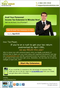 www.ExtensionTax.com offers an e-file service for Income Tax Extension Form 4868 due by April 15.