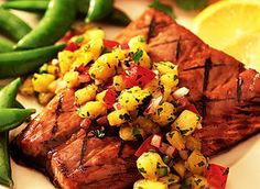 Salmon with Pineapple Salsa  #summer #recipes