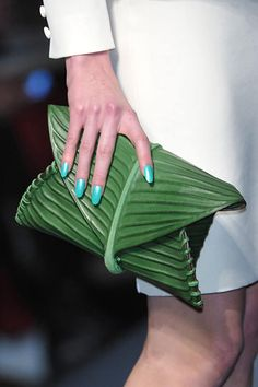 Green Clutch  This reminds me of clothes my daughter designed when she was just a wee thing. EXACTLY this kind of thing.