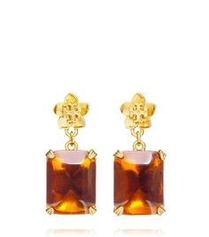 CECILY DROP EARRING - HONEY/ANTIQUED GOLD