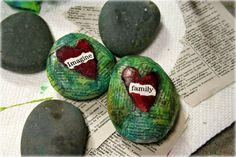 Decoupage Rocks with HEart