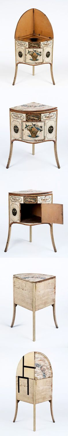 Washstand, England, 1780-1800, painted softwood. A double folding top opened to reveal a bowl for washing. When folded up, the top also protected walls from splashes. Designed to stand in the corner of a room, a similar stand is illustrated in Thomas Sheraton's Cabinet Maker and Upholsterer's Drawing Book, published in 1792, where it is described as a 'Corner Bason Stand'. The slightly splayed front legs gave the washstand greater stability. | V&A | photo compilation: @LucindaBrant