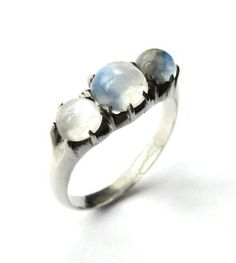 SOLD. Victorian style 3 stone moonstone ring, engagement ring, sterling silver three stone ring, triple June birthstone, vintage jewellery. https://www.etsy.com/uk/listing/480519875/victorian-style-3-stone-moonstone-ring
