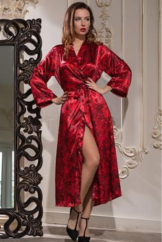 Silk long robe in royal red. Carmen collection. by MiaDivaLingerie on Etsy