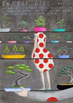 Bonsai Girl by SophieBlackall on Etsy, $45.00    Reminds me of  idea: Hang onto My Rainbow Sleeves