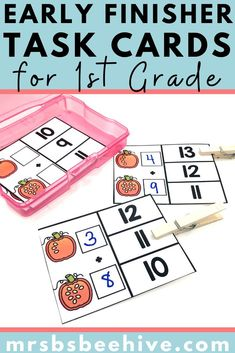 Give your students early finisher activities that are engaging and educational.  These task cards are meant to be done independently to help free up your teacher time for those students who need assistance!Help students practice addition skills with these kindergarten task cards.
