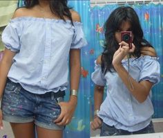Creative and Cool Ways to Reuse Old Shirts. Refashion of a men's button front shirt into a cute women's off-the-shoulder blouse.Refashion of a men's button front shirt into a cute women's off-the-shoulder blouse. Diy Clothing, Sewing Clothes, Men Clothes, Revamp Clothes, Recycle Old Clothes, Clothes Crafts, Mens Button Up, Button Up Shirts, Umgestaltete Shirts